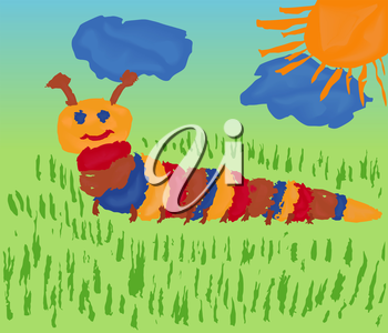 Colorful caterpillar among the meadow grass. Hand drawing vector illustration of as a children paint picture
