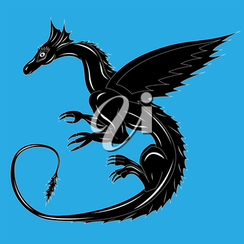 Black dragon on the blue background during the flight. Hand drawing vector illustration with editable background