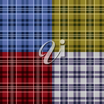 Four seamless checkered vector tartan patterns with various tinctures