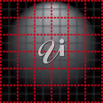 Red grid of double dashed lines on abstract lighting background, vector illustration