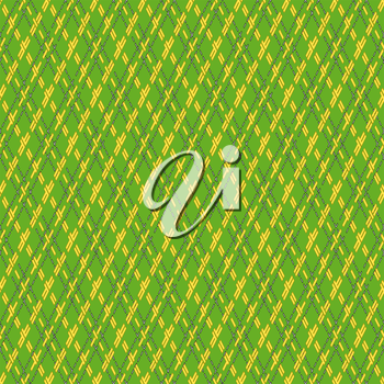Green and yellow seamless vector pattern with rhombic dashed lines