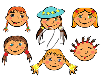 Set with six funny faces of smiling teen girls on white background, hand drawing cartoon vector illustration