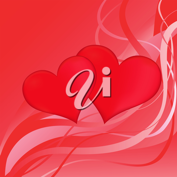 Two red hearts on a red abstract background, vector Valentines greeting card