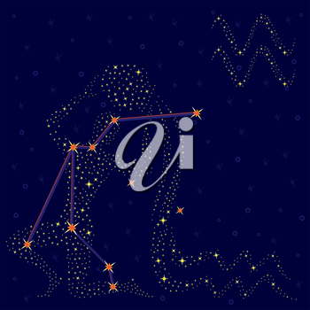 Zodiac sign Aquarius on a background of the starry sky with the scheme of stars in the constellation, vector illustration