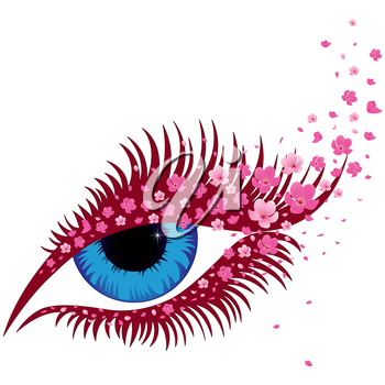 Female blue eye with small pink flowers of sakura, hand drawing vector illustration