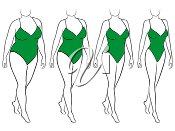 Four stages of abstract female on the way to lose weight, black and green vector illustration