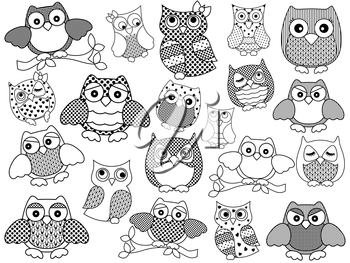 Amusing and funny twenty ornamental owls set, black vector contours isolated on white background