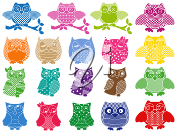 Set of nineteen colorful ornamental vector owl stencils isolated over white background