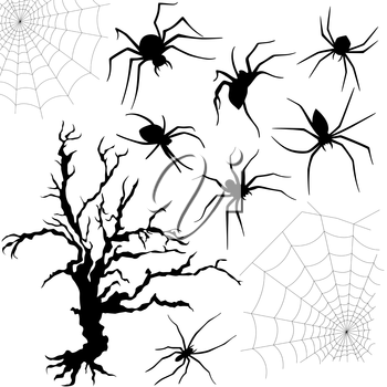 Halloween silhouette set of spiders, spider nettings and old dried tree isolated on white background, hand drawing vector illustration