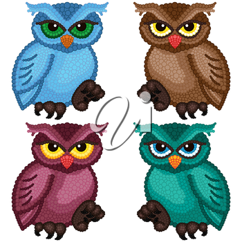Set of four colorful ornamental owls with circle elements isolated over white background, cartoon vector illustration