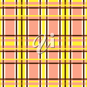 Seamless rectangular vector pattern mainly in yellow, brown and light terracotta hues like as pseudo 3D effect