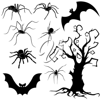 Halloween silhouette set of spiders, flying bats and old dried tree isolated on white background, hand drawing vector illustration