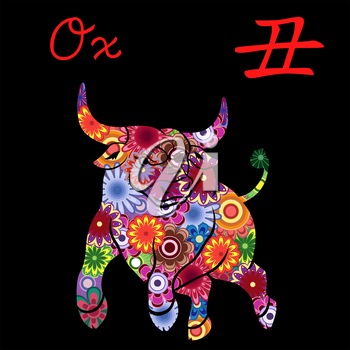 Chinese Zodiac Sign Ox, Fixed Element Earth, symbol of New Year on the Eastern calendar, hand drawn vector stencil with colorful motley flowers isolated on a black background