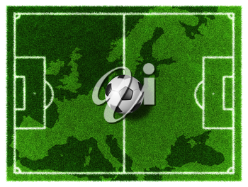 3d Football - Soccer grassy field on Europe map