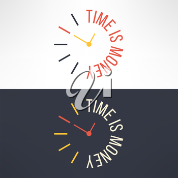 Vector time is money concept design. Clock with motivational text phrase.