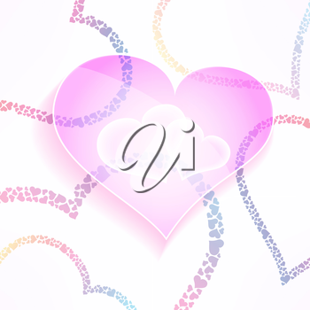 Vector weddign and valentines background with glassy and stylish hearts. Colorful love and care design element.