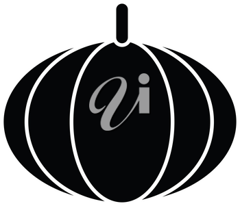 Simple flat black pumpkin icon vector