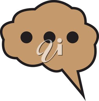 Simple flat color brain icon vector