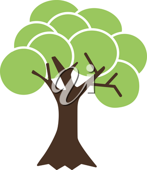 Simple flat color tree icon vector