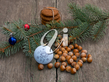 baking, nutlets, Christmas tree decorations and coniferous branch, still life, subject Christmas and New Year