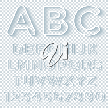 Outline Alphabet Set With Shadow on transparent background. Vector EPS10.