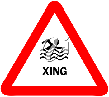 Royalty Free Clipart Image of a Swimmer Crossing Sign