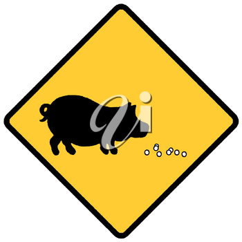 Royalty Free Clipart Image of a Pearls Before Swine Sign