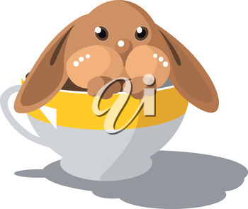 Royalty Free Clipart Image of a Bunny in a Teacup