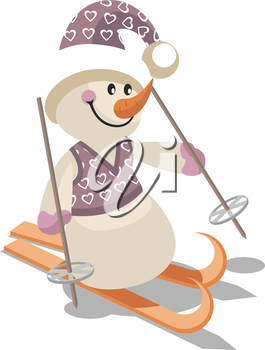Royalty Free Clipart Image of a Snoman Skiing