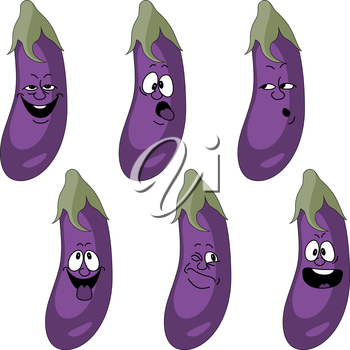 Royalty Free Clipart Image of an Eggplant set