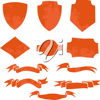 Set of Ribbons and Shields. T-shirt graphic. Vector illustration