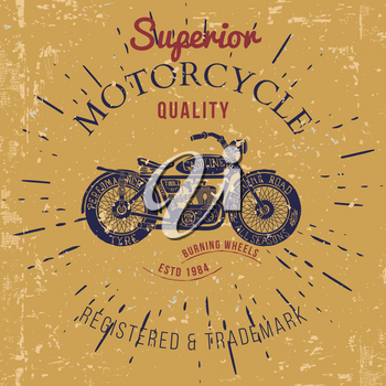 vintage motorcycle design for tee shirt graphic print Vector illustration