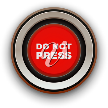 Industrial Red Button. Do not press. Vector illustration