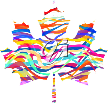 Abstract Maple Leaf Silhouette with Pattern. Vector illustration