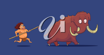 Cartoon Caveman with Spear hunting Mammoth. Vector illustration