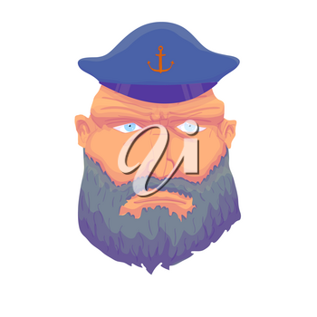 Cartoon ?aptain sailor face with Beard and Cap. Vector illustration