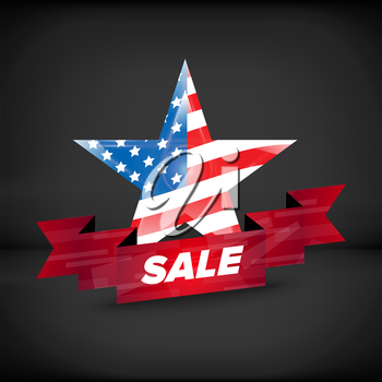 USA flag in a star with sale ribbon
