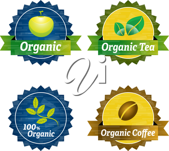 Organic food icons with apple, branch and leafs