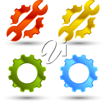 Service icon set with gear and wrench