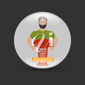 man traveling and hiking badge in circle with shadow