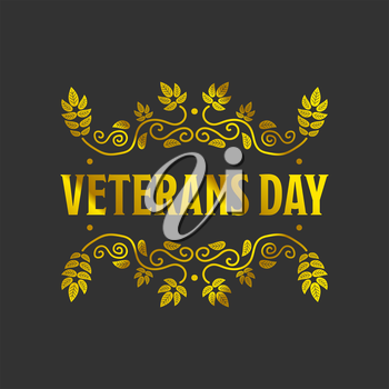 Veteran day golden bagde with a black background