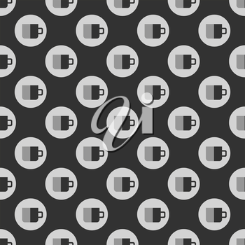 Cup seamless pattern on black background. Wallpaper for cafe or restaurant