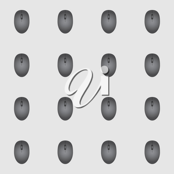 Mouse seamless pattern on a gray background