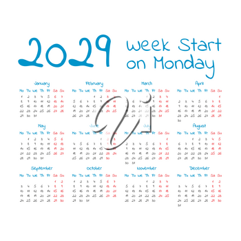 Simple 2029 year calendar, week starts on Monday