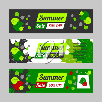 Summer sale banner set with black and white backgrounds