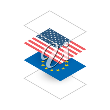 Illustration with USA and Europe flags in isometric projection