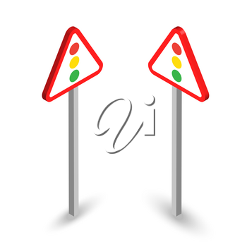 Traffic signals ahead. Isometric road sign set with shadows