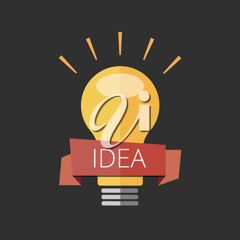 light bulb with the award ribbon. Concept banner for ideas
