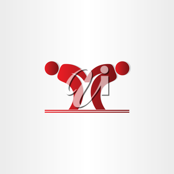 letter m pepole dancing icon design
