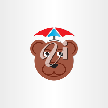 brown bear head with umbrella symbol